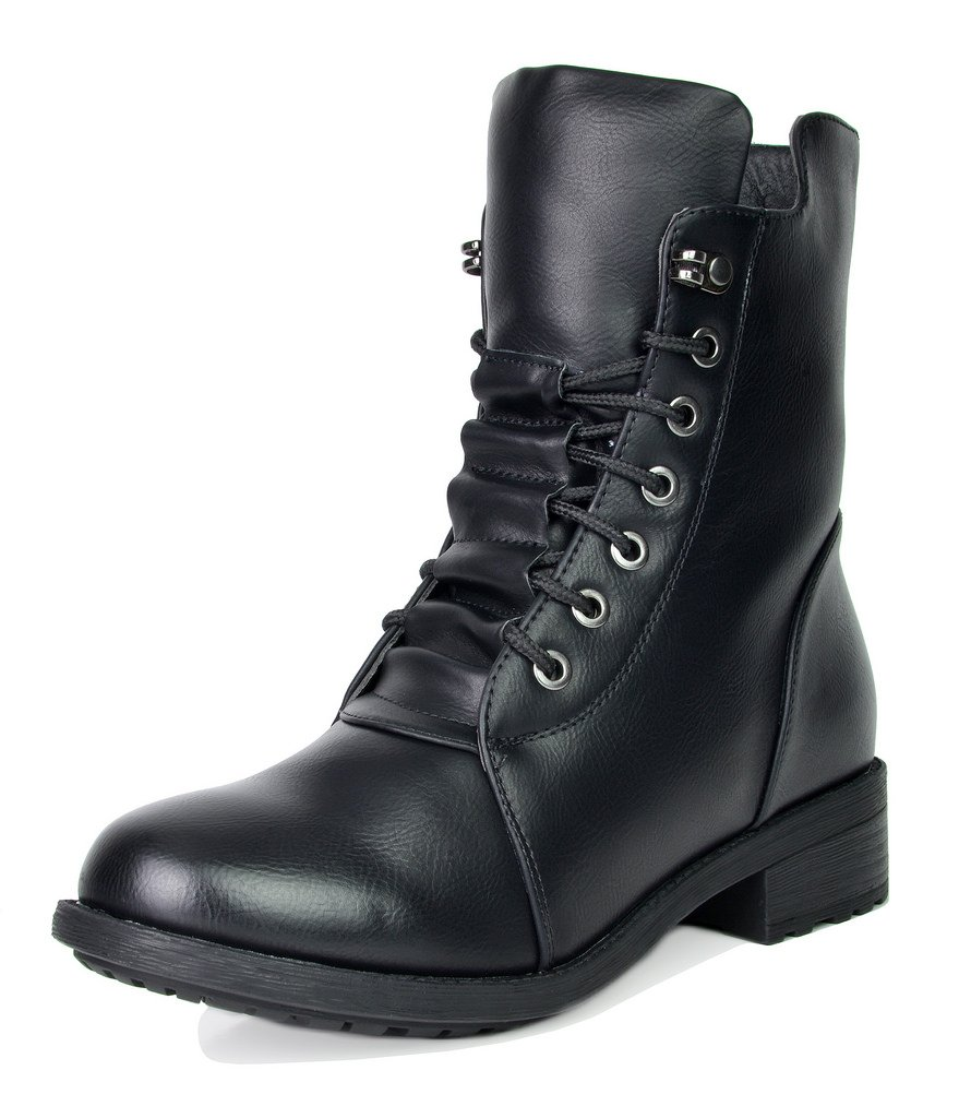 DREAM PAIRS Women's Panther Black Mid Calf Military Combat Boots Size 7 M US