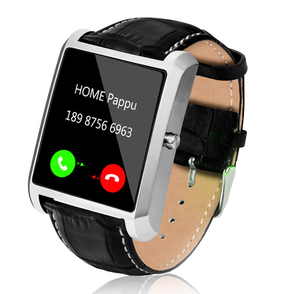 Smart Watch for Android Phones, Men Smart Watches for iPhones 1.54 inch Touchscreen Cell Phone Watch with Leather Strap Camera Bluetooth Heart Rate Monitor Pedometer by Lemfo (Silver)