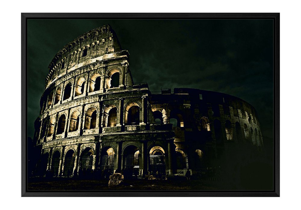 Italy Night Architecture Colosseum Black Wooden Frame Art Print Canvas Poster, Home Wall Decor(14x20x1.4 inch)