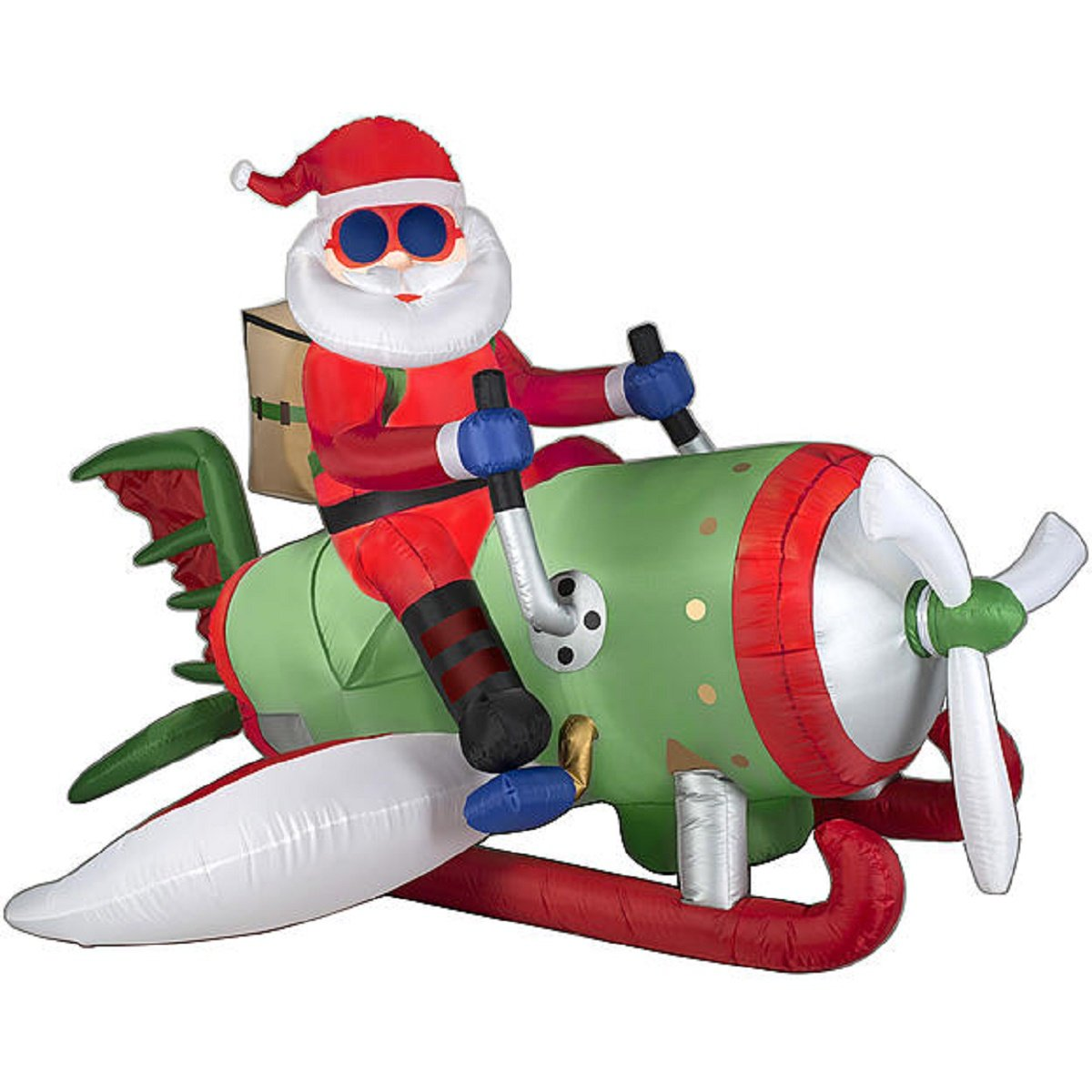 amazoncom christmas inflatable animated airplane santa by gemmy garden outdoor - Christmas Blow Ups