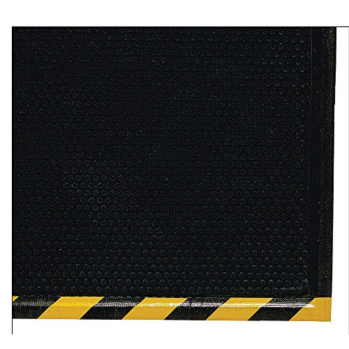 M+A Matting 476 Happy Feet Nitrile Rubber Grip Surface Anti-Fatigue Interior Floor Mat with Striped Yellow Border, 5' Length x 3' Width, 1/2'' Thick, Yellow Border by M+A Matting (Image #1)