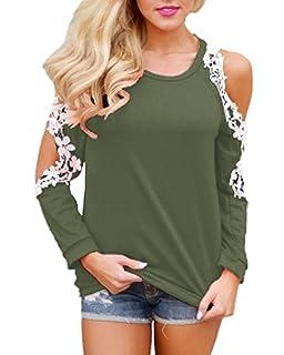 StyleDome Damen Shirt Langarm Bluse Crochet Lace Jumper Beiläufiges Hemd  Casual Tee Tops Oversize Schulterfrei Oberteil 4de891766f