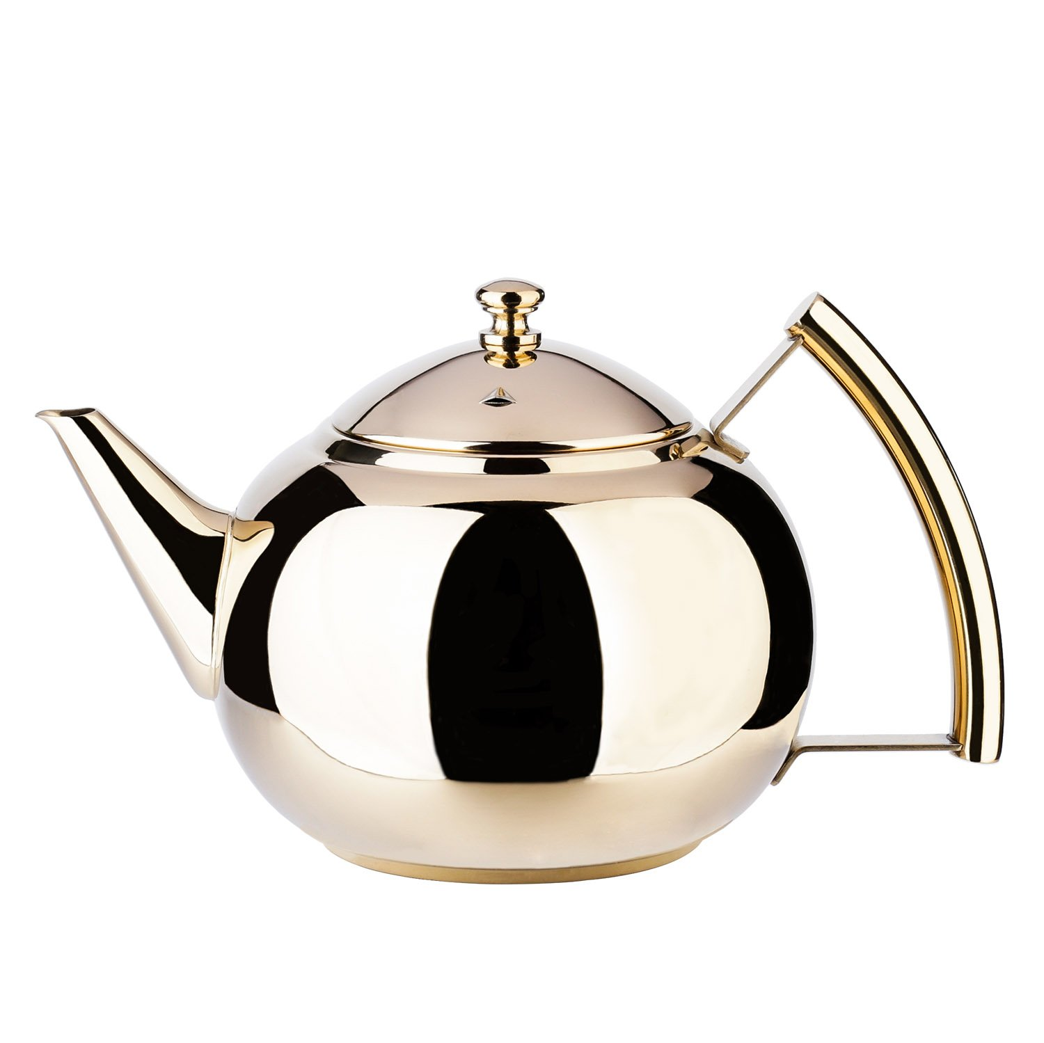 2 Liter Tea Pot Gold Pot with Infuser for Loose Tea Stainless Steel Coffee Kettle 8 Cup Induction Stovetop Copper Teapot Strainer for Boiling Hot Water Mirror Finish 2.1 Quart 68 Ounce by Onlycooker