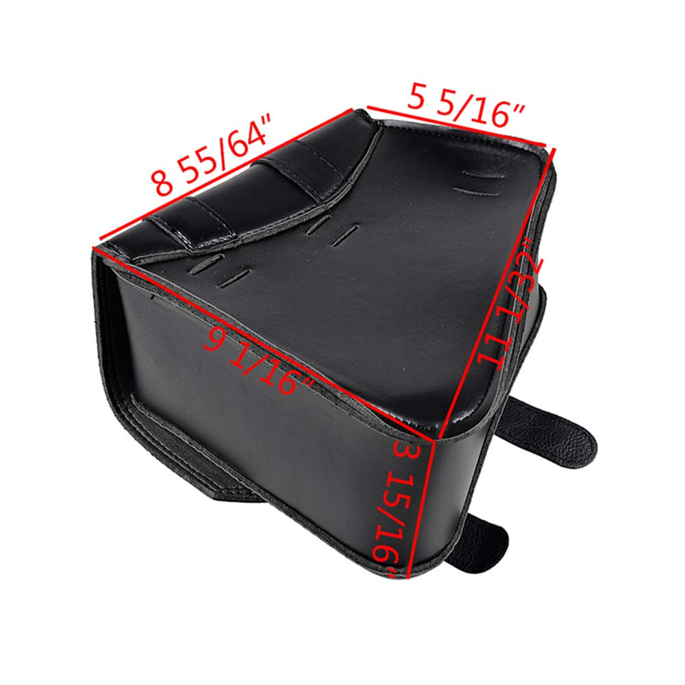 Left Right Black PU Leather Solo 2-Straps Swing Arm Saddlebag Tool Bag for Harley Sportster XL883 XL1200