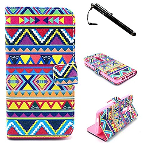 LG G2 Case,Colorful Geometric Pattern Premium PU Leather Wallet Flip Protective Skin Case with Magnetic Clasp for LG G2 LG Optimus G2(Built-in Credit Card/ID Card (Lg G2 Phone Case Magnetic)