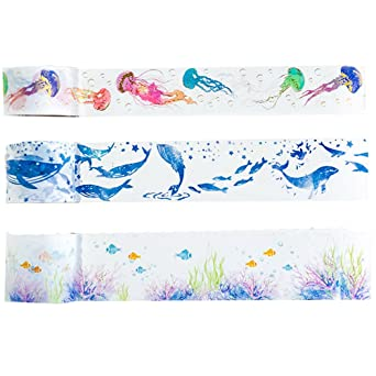 Sticky Ocean animals Washi tape roll. Decorative