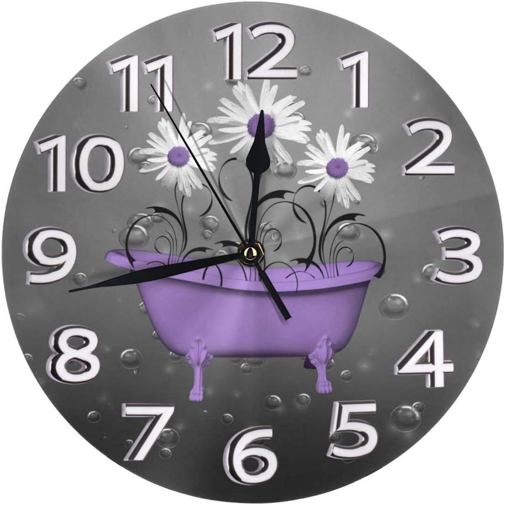 Yanghl Purple Gray Daisy Flowers Bubbles Print Round Wall Clock Decorative, 9.8 Inch Silent Non Ticking Home Office School Decorative Clock Art