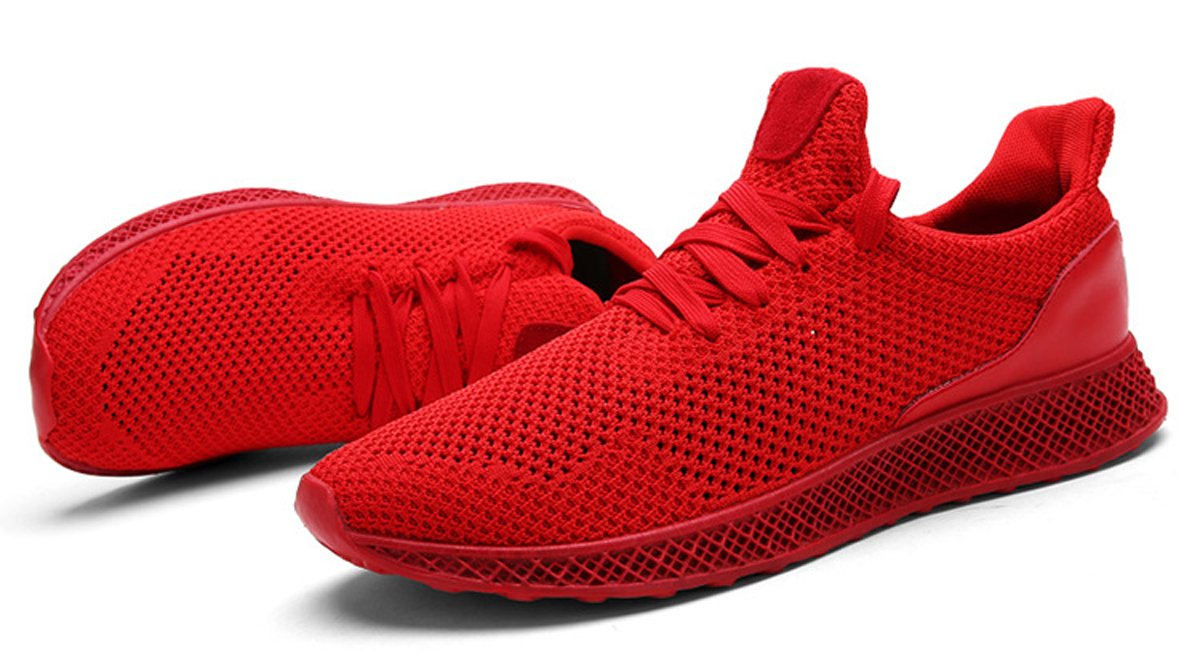 Mens Casual Fashion Sneakers Breathable lightweight Athletic Lace-up Running Shoes Sports Shoes Outdoor Soft Casual Walking Shoes B075MDHPDX 8 D(M) US|Red