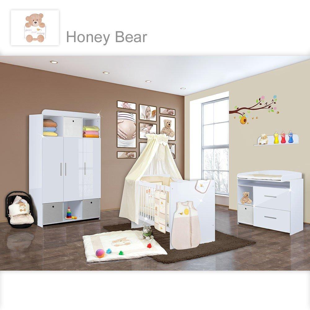 Babyzimmer Mexx in Weiss Hochglanz 11 tlg. mit 3 türigem Kl. + Honey Bear Beige