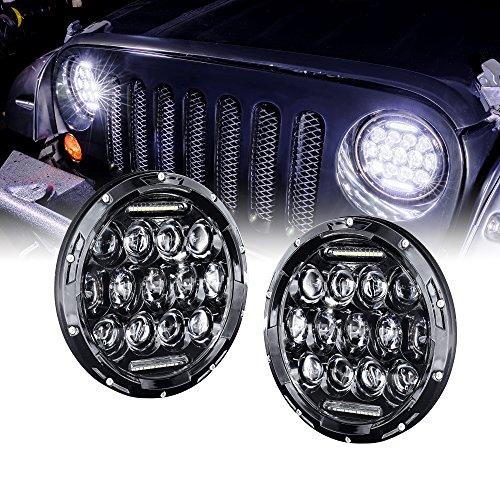 "7"" Round LED Headlight with DRL [65 Watt] [Universal] [Plug & Play] [Energy Efficient] [Ruggedized] - Sealed Beam Headlight (2pc) for cheap"