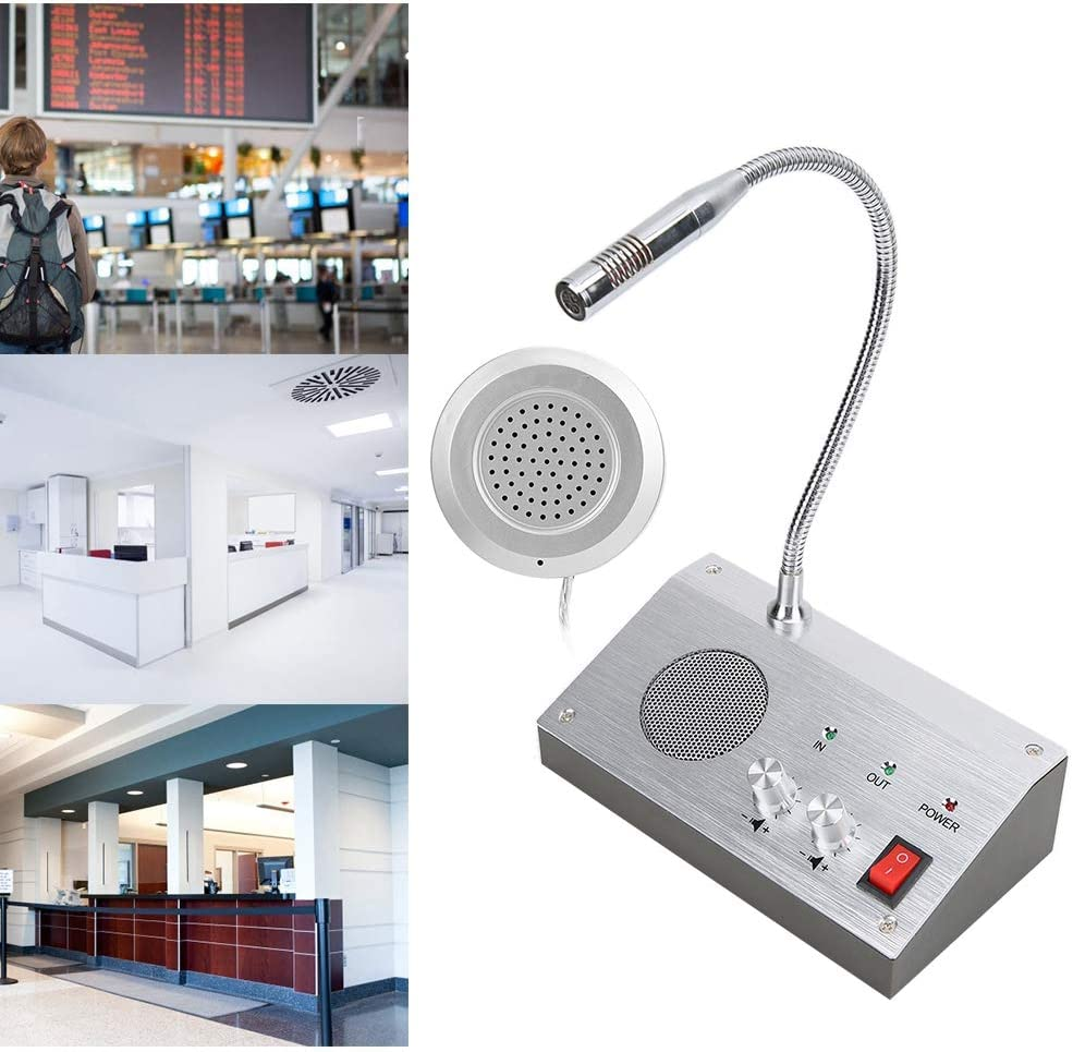 US Noise-Free Dual-Way Window Counter Intercom Interphone for Bank//Office//Store//Station,110-240V
