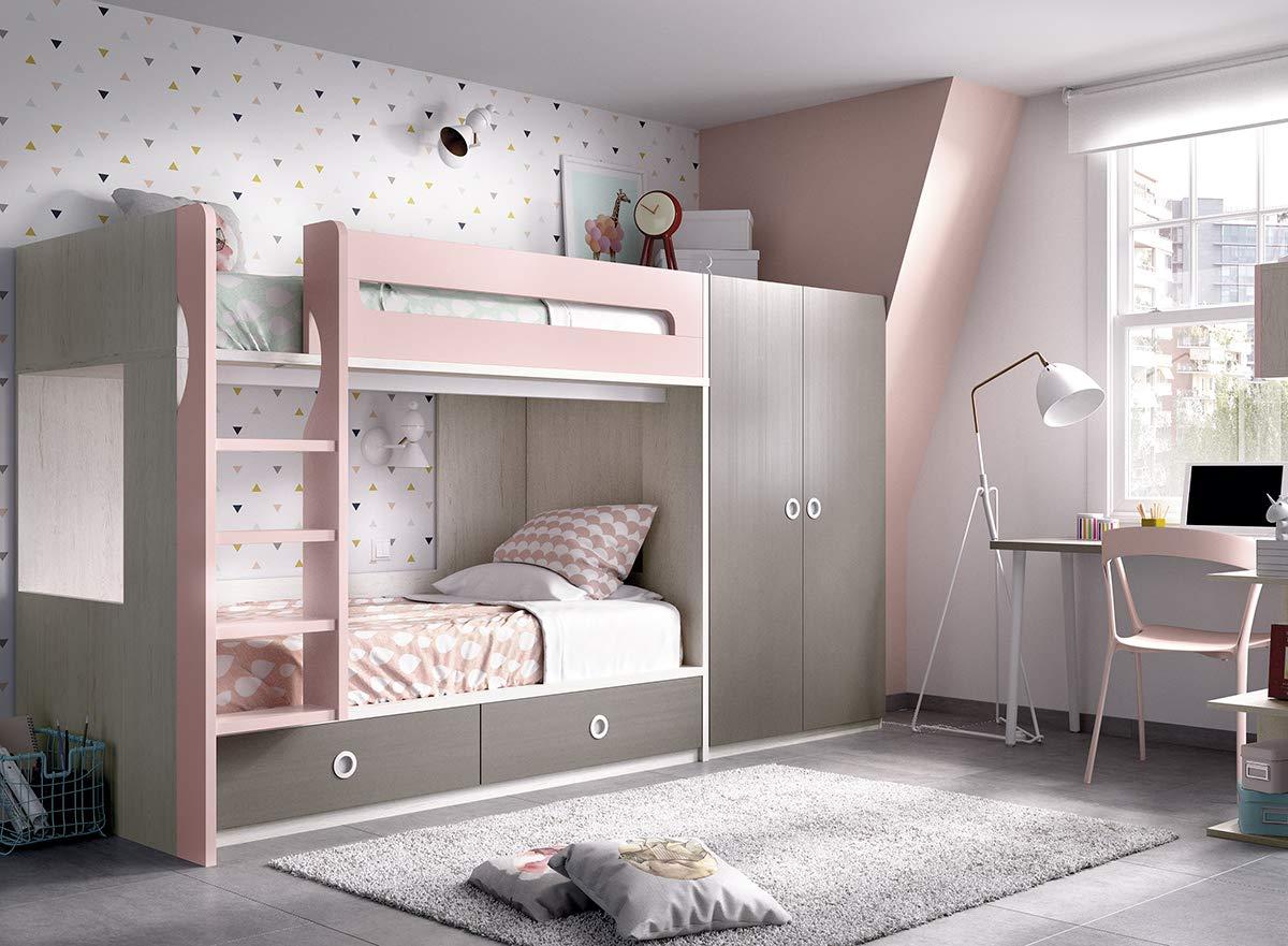 Ambiato Kinderzimmer 302 Jump Hochbett, Kleiderschrank,Schreibtisch, Regalfach,Wandregal