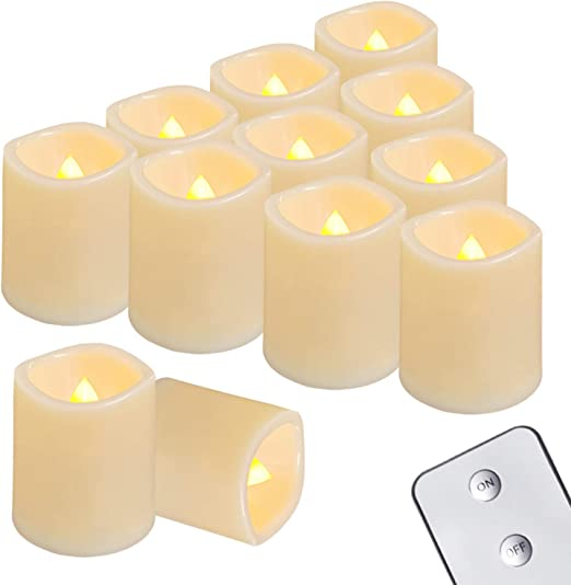 12pcs Flameless Votive Decor Candles LED Tea Lights Battery Operated Flickering