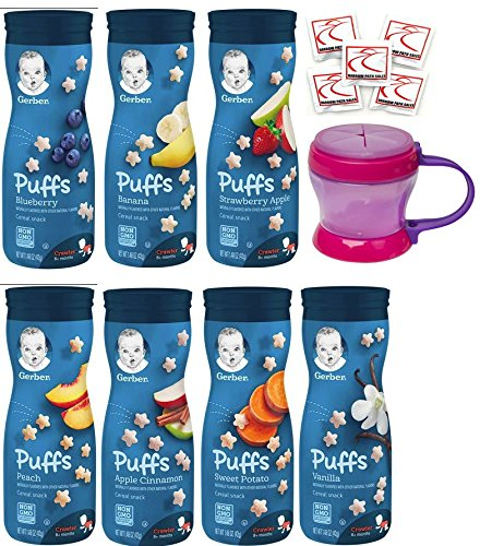 Cheap Gerber Graduates PUFFS Cereal Snack Variety Pack + Puffs Snack Catcher Cup- All 7 Flavors 1.48oz