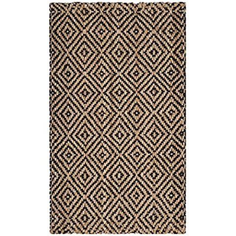 Safavieh Natural Fiber Collection NF181C Natural and Black Area Rug, 2'3