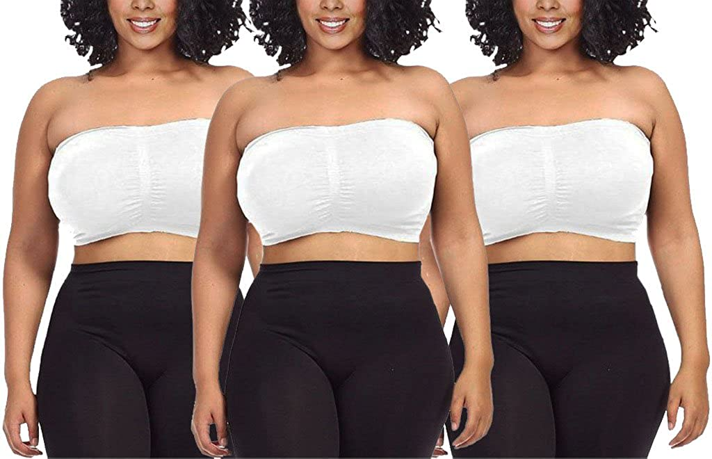 3d2e4594e0b13 Dinamit Jeans Women s Plus Size Seamless Padded Bandeau Tube Top Bra ...