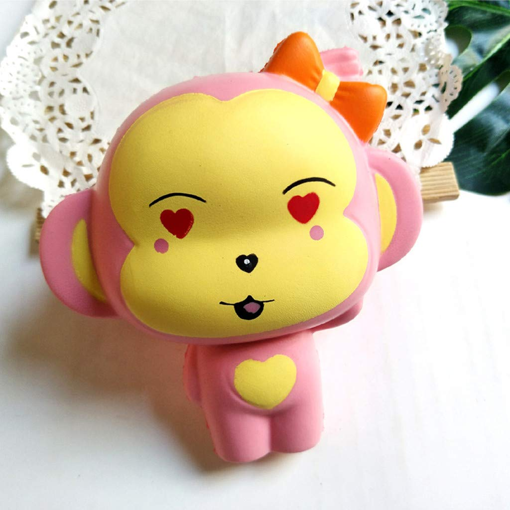 Monkey Squishy Toys Jumbo Scented Charm Squeeze Toys Stress Relief Animal Toys Slow Rising Kawaii Sensory Fidget Hand Toy for Kids Adults (Pink) by Codiak-Entertainment (Image #2)