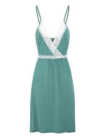 FISOUL Ropa de Dormir para Mujeres Bata de Noche Completo Slip Lace Vestido Lounge Azul Verde M: Amazon.es: Ropa y accesorios