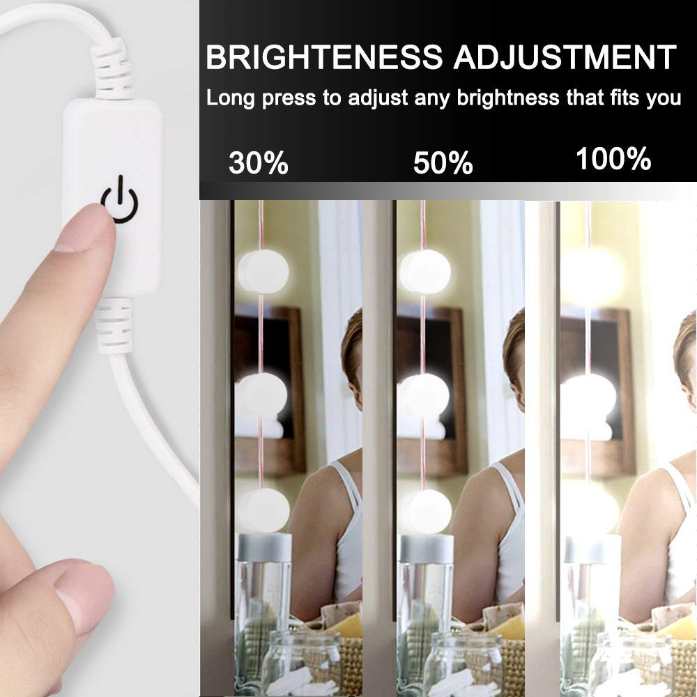 Hollywood Style LED Vanity Makeup Mirror Lights Kit White with 14 Dimmable Bulbs,Lighting Fixture Strip for Makeup Vanity Table Set in Dressing Room(Mirror Not Included) by 321 Lights (Image #2)