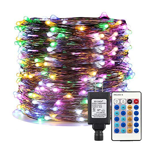 12 Christmas Volt Lights (ER CHEN Multicolor LED String Lights Plug in, 99ft 300 LED Long Fairy Lights Dimmable with Remote, Indoor/Outdoor Silver Coated Copper Wire Decorative Lights for Bedroom, Patio, Garden, Yard)