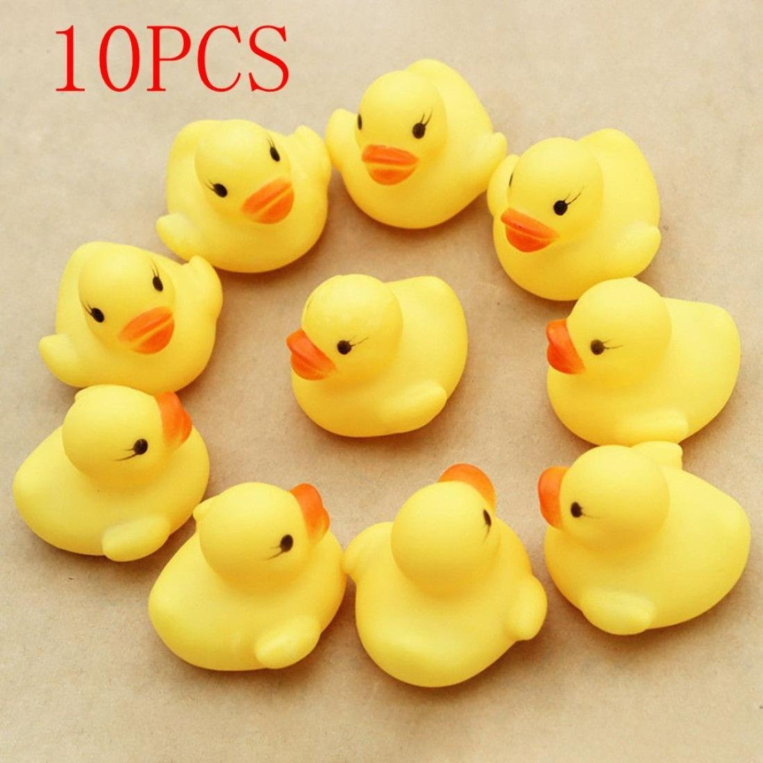 Sagton 10PC Duck Squishy Toy, Cute Squeezing Call Rubber Ducky Duckie for Baby Shower Birthday by Sagton (Image #2)