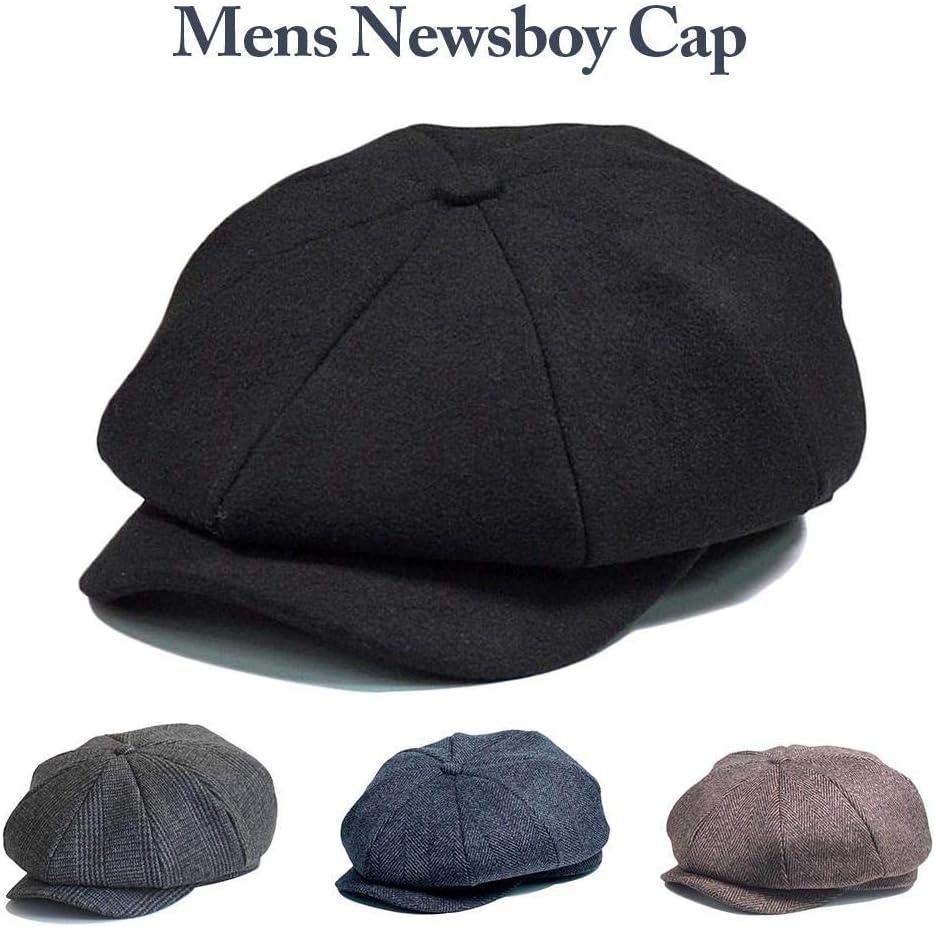 Peaky Blinders Tommy Shelby Style Grey Herringbone Tweed Newsboy Cap Wool Blend