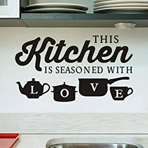 YINASI Kitchenware Wall Stickers, DIY Art Mural Decor Removable Wall Decals Kitchen Home Wall Art Decoration Dinner Room- This Kitchen is Seasoned with Love Quotes 50X30CM