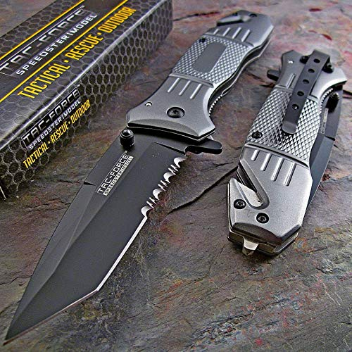 TAC Force Spring Assisted Opening Tactical Rescue Folding Knife Pocket Silver Gray (Half Serrated Blade)