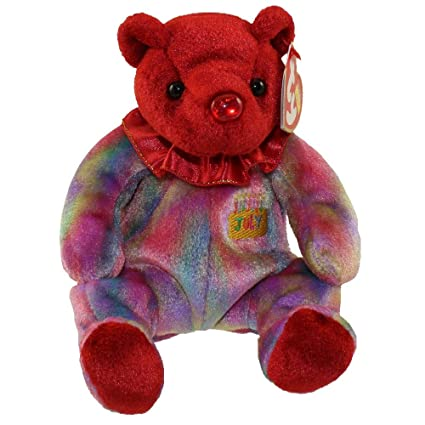 Amazon.com  Ty Beanie Baby July Ruby Birthstone Teddy Happy Birthday Bear   Everything Else f6776cfb57d6