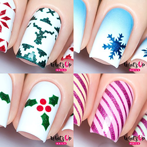 Holly Flat Cards - Christmas Nail Stencils 4 pack (Wrapping Paper, Holly, Knit Your Own Sweater, Silver Jolly Snowflake)