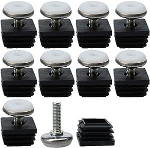 uxcell Leveling Feet 25 x 25mm Square Tube Inserts Kit Furniture Glide Adjustable Leveler for Table Leg 10 Pcs