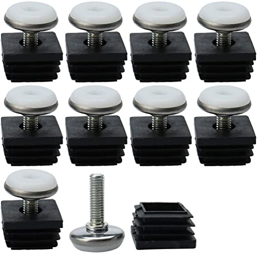 Square Plastic End Caps Blanking Plugs Tube Box Section Insert Height Adjustable
