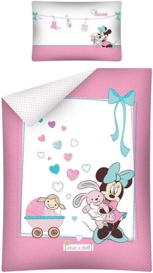 100/x 135/cm Color Rosa//Blanco de 2/Unidades algod/ón Detexpol Cama Infantil Minnie Mouse 1632
