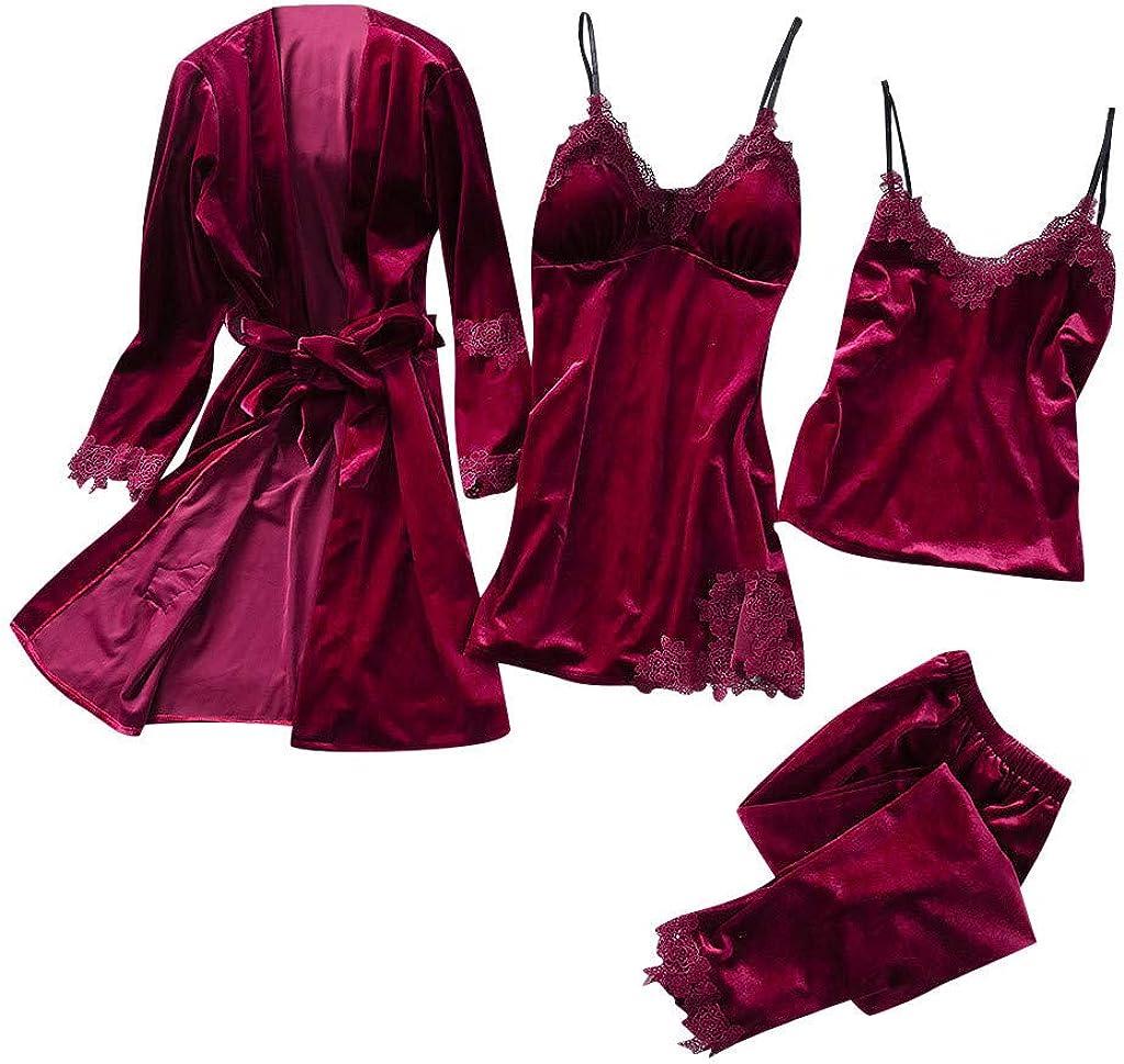 Topgrowth 4 PCS Camicie da Notte Donna Pigiama Seta Intimo Donna Pizzo Camiciola Indumenti da Notte con Pizzo Canotta Pantaloni Lunghi Abiti Set