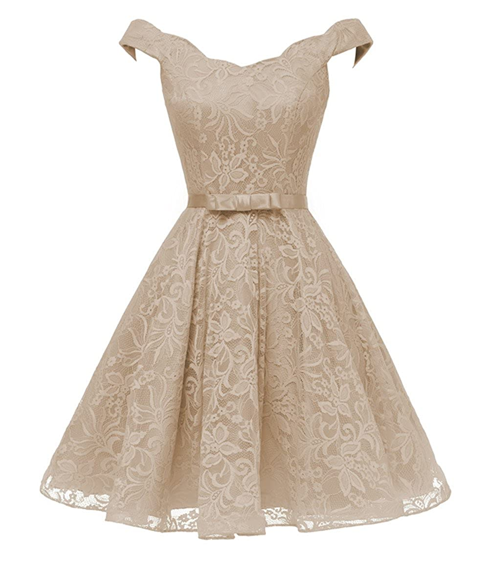 Champagne Huifany Lace Short Homecoming Dresses for Women Off Shoulder Cocktail Party Gown