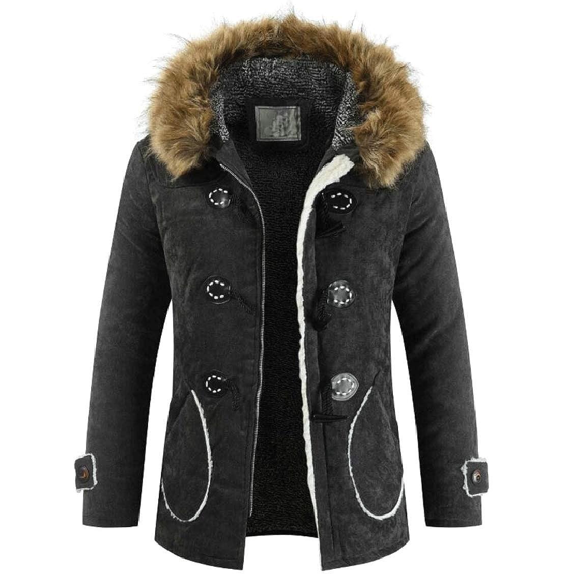 Jmwss QD Mens Thicken Faux-Fur Collar Hoodies Velvet Fleece Parka Jacket Coat