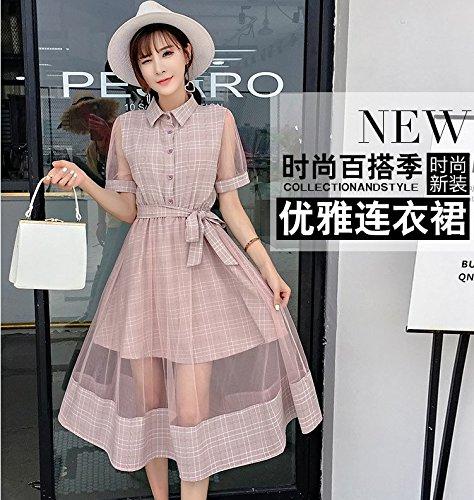 Rose 2018 rtro Robe Femmes et Maille l't Longue Courtes Une MiGMV Robe de Jupe Couture Robe XL Grille de Manches Printemps Jupe xqgw01Yv4