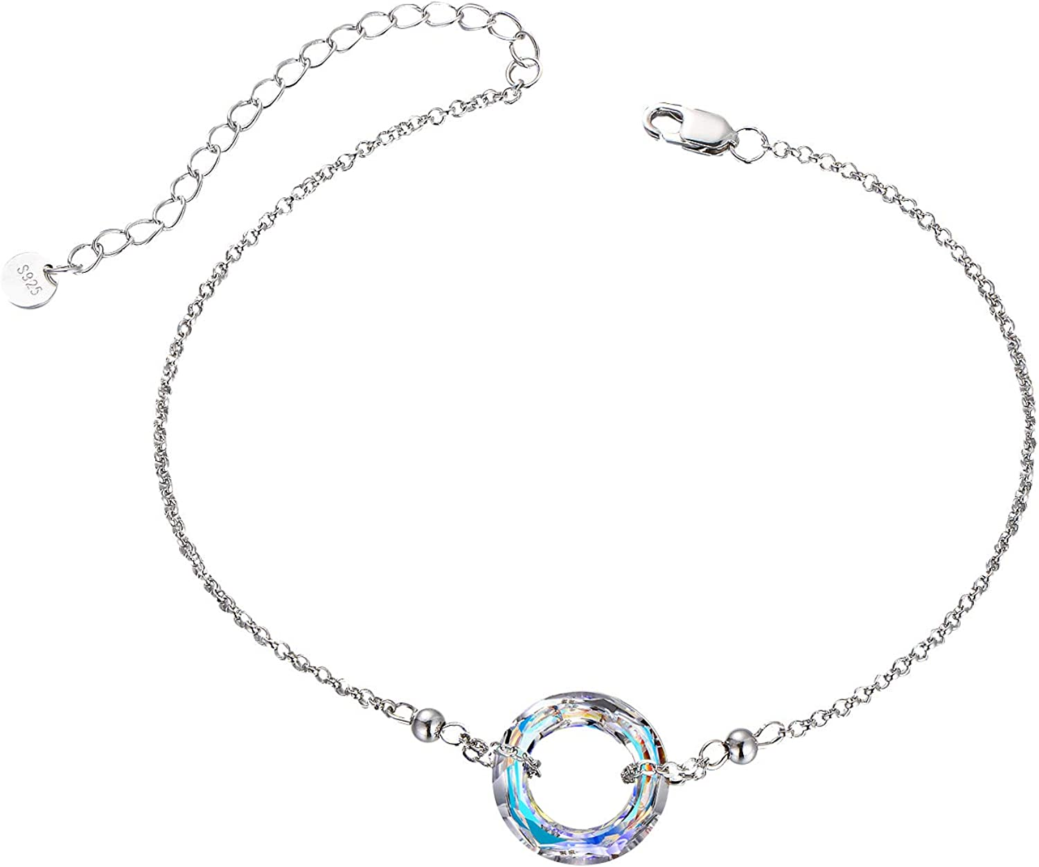 Crystals from Swarovski Anniversary Birthday Jewelry Gifts for Lovely Ladies Love and Hope Series AOBOCO Sterling Silver Bracelet for Women