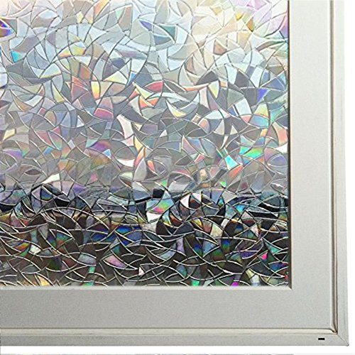 Bloss 3D Decorative Window Film Rainbow Effect Removable Door Window Decoration Static Cling Glass Film Waterproof Window Coveing, 17.7