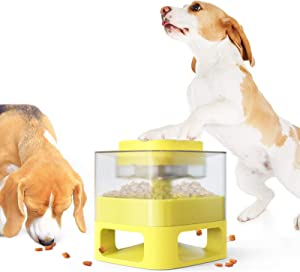 ANROD Dog Food Dispenser Container Toy with Button,Feeder Treat Dispensing Dogs Toys to Slow Eating for Indoor Small/Large Breed IQ Pet Interactive Playing