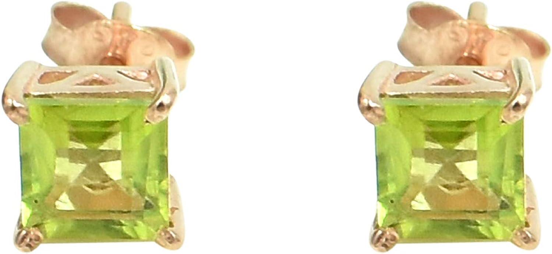 Silvesto India - Pendiente de plata de ley 925 con piedras preciosas de peridoto natural para mujer, chapado en oro rosa