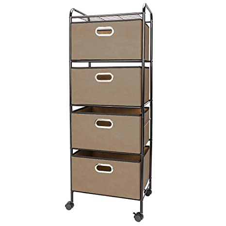 Laundry-Butler - Carrito de 4 cajones, 4 estantes con 4 cajones Plegables no