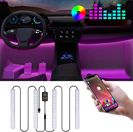 Car Led Interior Lighting Rgb Ambient Car Lighting With App Car Led Footwell Lighting Car Interior Led Strip Atmospheric Light With Usb Port Music Controllable Auto