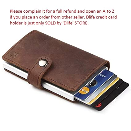 Dlife Credit Card Holder RFID Blocking Wallet Slim Wallet PU Leather Vintage Aluminum Business Card Holder