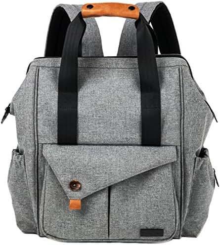 HapTim Multi-function Baby Diaper Bag Backpack with Stroller Straps, Gray