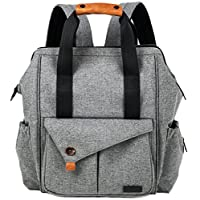 HapTim Multi-function Baby Diaper Bag Backpack with Stroller Straps, Gray