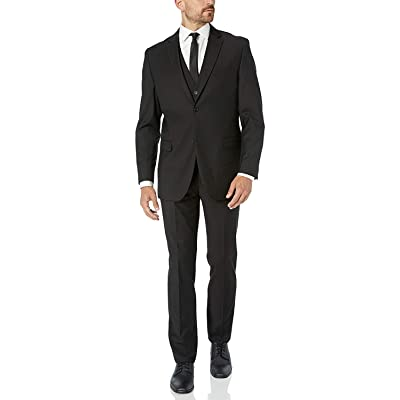 Adam Baker Men's Modern Fit 3-Piece Single Breasted Wool/Silk Blend Vested Suit - Colors at Men's Clothing store