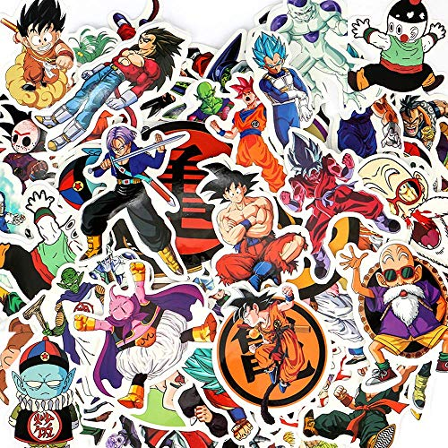 Sarissa 100PCS Cool Dragon Ball Z Vinyl Laptop Decals, Custom DBZ Sticker Sheet, Cute Anime Decals, Clear Stickers, Water Resistant & Easy Peel for No Mess Transfer (Dragon Ball Stickers 100PCS)