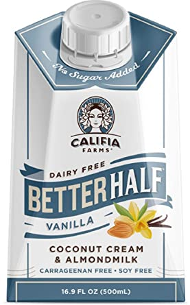 Califia Farms Vanilla Better Half Coffee Creamer, 16.9 Oz (Pack of 6) | Coconut Cream and Almondmilk | Half & Half | Dairy Free | Plant Based | Nut Milk | Vegan | Non-GMO