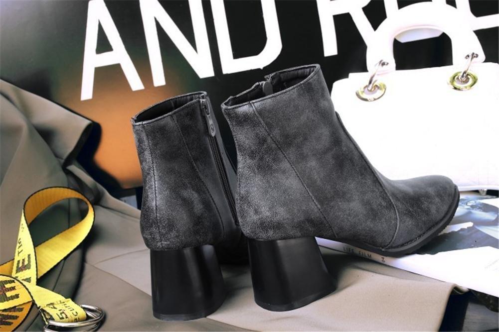 NVXIE Damen Kurze PU Stiefel Rauer High Heel Spitzschuh Künstliche PU Kurze Metallkette Zwei trägt Schwarz Grau Herbst Winter Partyarbeit b4ec64